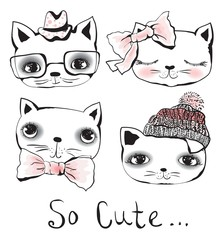 Set of 4 Vector doodle cute cats avatars