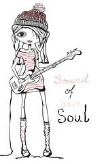 Beautiful romantic cute girl plays on guitar