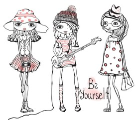 Cute romantic fashion girls. Be yourself lettering