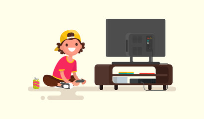 Boy playing video games on a game console. Vector illustration