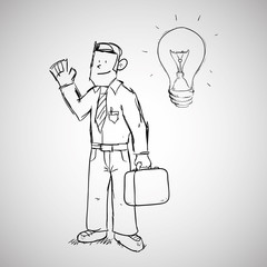 Businessman design. sketch icon. Isolated and flat illustration