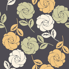 Elegant seamless pattern with colorful roses