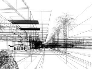 sketch design of urban ,3dwire frame render