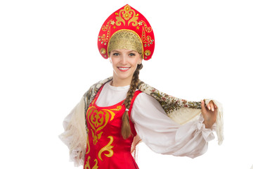 beautiful  smiling russian girl in folk costume