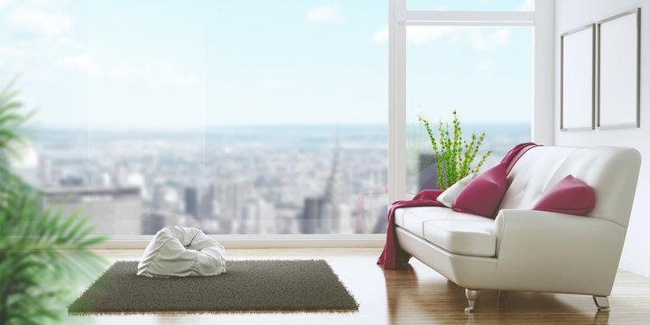 Soggiorno con divano e vista su città attico