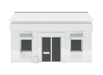 Shop building isolated on white background