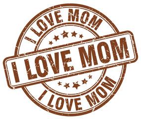 i love mom brown grunge round vintage rubber stamp