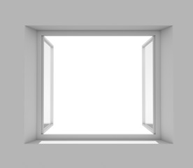 Open window with empty white wall