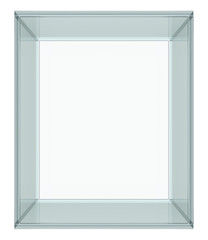 Empty Glass Cube isolated on white