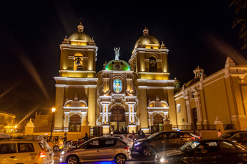 Night view of Basilica menor cathedral in Trujillo, Peru