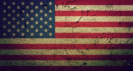 American flag on grunge wall background