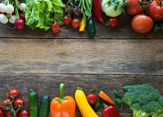 image of fresh vegetables on wooden background