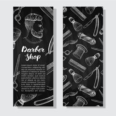 Vector vintage chalkboard hand drawn Barber Shop business flyer.
