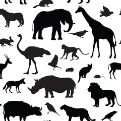 Animals  pattern. African wdildlife seamless background
