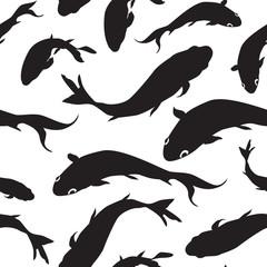 Fish silhouette seamless pattern Sketch underwater marine textur