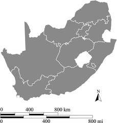 South Africa map vector outline with scales of miles and kilometers in gray background