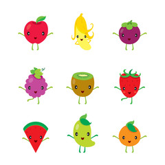 Cute Cartoon Characters Design Set Of Fruits, Tropical Fruits, Characters Design, Summer, Healthy Eating, Food, Juice