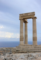 Columns of the Hellenistic stoa. Acropolis of Lindos. Rhodes, Greece.