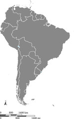 South America map vector outline with scales of miles and kilometers in gray background