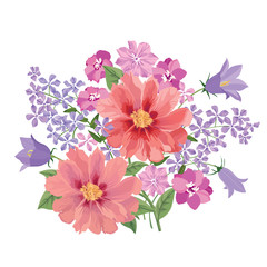 Flower bouquet. Floral frame with summer flowers Flourish greeting crad background