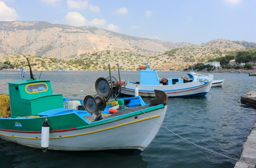 Boats in the harbor of Panormitis. Symi island, Greece.