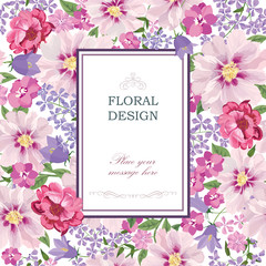 Floral background Flower bouquet vintage cover. Flourish greeting card