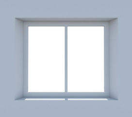 Closed window frame on light blue background
