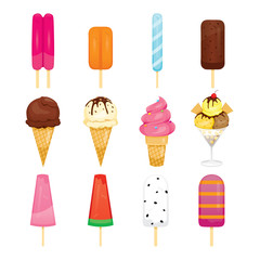 Ice Cream Objects Icons Set, Summer, Frozen Food, Eating, Icy
