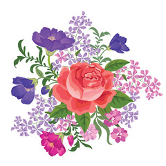 Flower bouquet background Floral frame. Flourish greeting card.