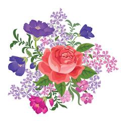 Flower bouquet background Floral frame. Flourish greeting card.
