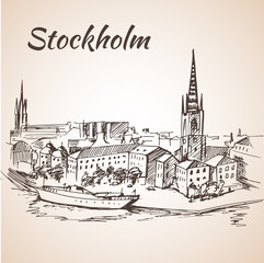 Stockholm, Sweden - city view. Hand drawn ink line pen.