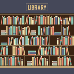 Bookcase In Library Vector Illustration.