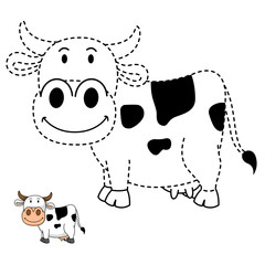 Illustration of educational game for kids and coloring book-cow