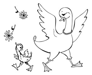 Mother-goose with her little child. Black and white vector illustration. Coloring book.
