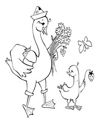 Father-goose is walking with his son. Black and white vector illustration. Coloring book.