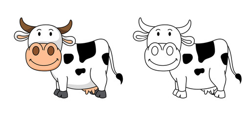 Illustration of educational coloring book-cow