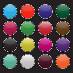 Set of blank colorful circle buttons