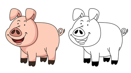 Illustration of educational coloring book-pig