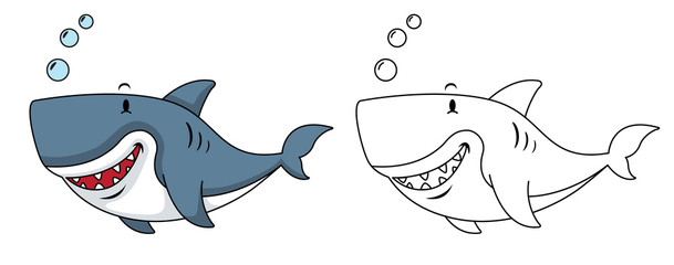 Illustration of educational coloring book-shark