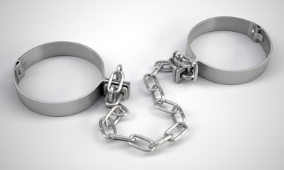 Rendered handcuffs. Close up view