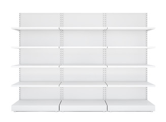 Three white blank empty retail shelves