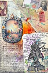 Murales con graffiti e collage esoterici e misteriosi