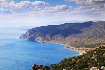 Landscape with sea and mountains, Crimea.