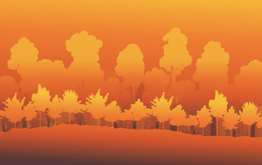 Forest trees abstract vector background