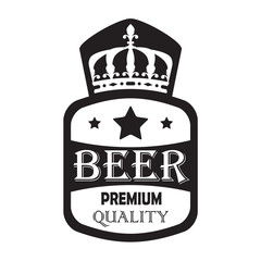 Beer label isolated on white background. Vector illustration with premium quality sign, stars and crown.