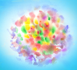 Holiday firework watercolor background. Abstract splash banger. Artistic festive watercolor illustration.