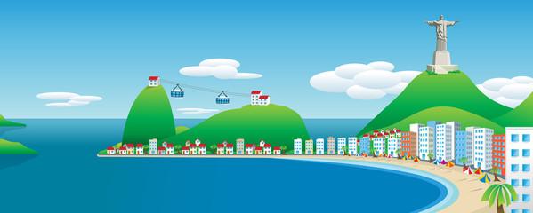 Panoramic view of Rio de Janeiro. Vector image