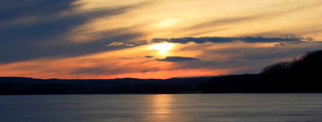 Beautiful picture of the amazing sunset on the lake