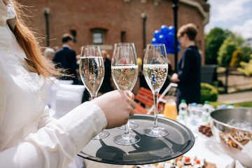catering services in restaurant outdoor on wedding ceremony in the park. Food and glass of champagne