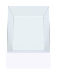 Glass cube on pedestal. 3d illustration